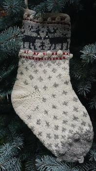 Latvian Christmas stocking - white