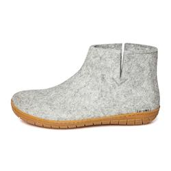 Felt slipper with rubber soles - light grey