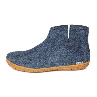 Felt slipper with rubber soles - denim